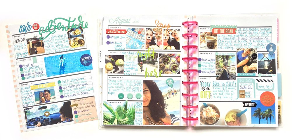 memory keeping vacation photos in the Rose Gold Horizontal Happy Planner™ by mambi Social Media Coordinator Amanda Rose Zampelli | me & my BIG ideas