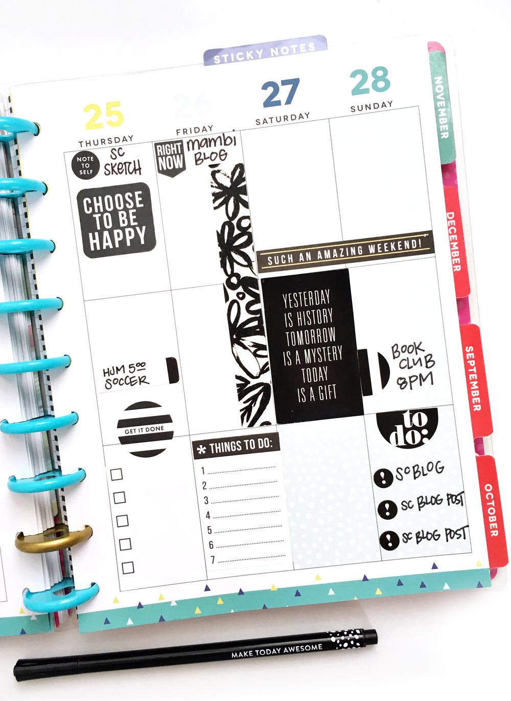 full of color OR black & white in the 'Be Bright' Happy Planner™ of mambi Design Team member Jennie McGarvey | me & my BIG ideas
