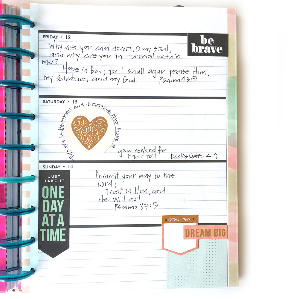 Faith planning bible journalling in the rose gold horizontal happy
