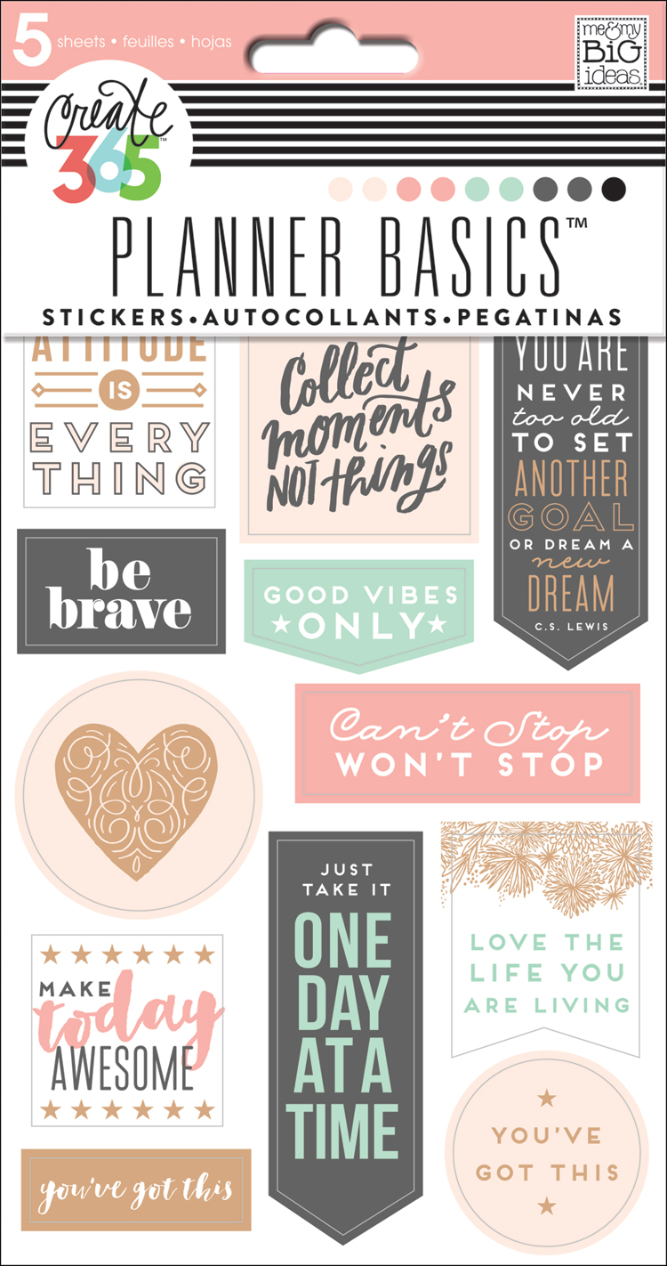 Rose gold planner basics stickers for the happy planner me my