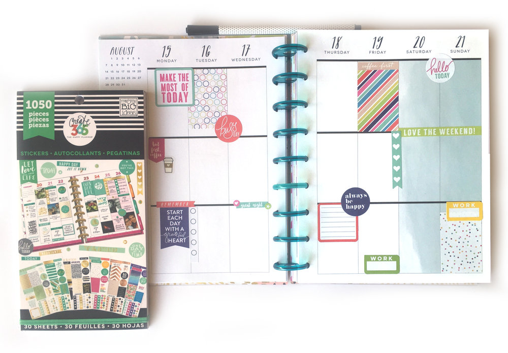 color-coordinated week  in the Student Planner of mambi Design Team member Casie Gutierrez | me & my BIG ideas