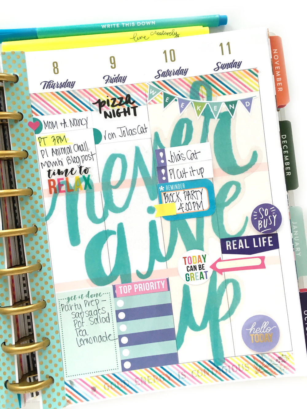 'Never Give Up' in the 'Botanical Garden' Happy Planner™ of mambi Deisgn Team member Mary-Ann Maldonado | me & my BIG ideas