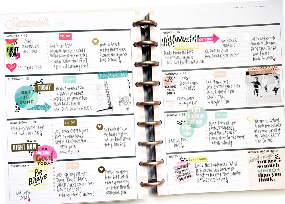 September monthly & weekly in the Rose Gold Horizontal Happy Planner™ of mambi Design Team member April Orr | me & my BIG ideas