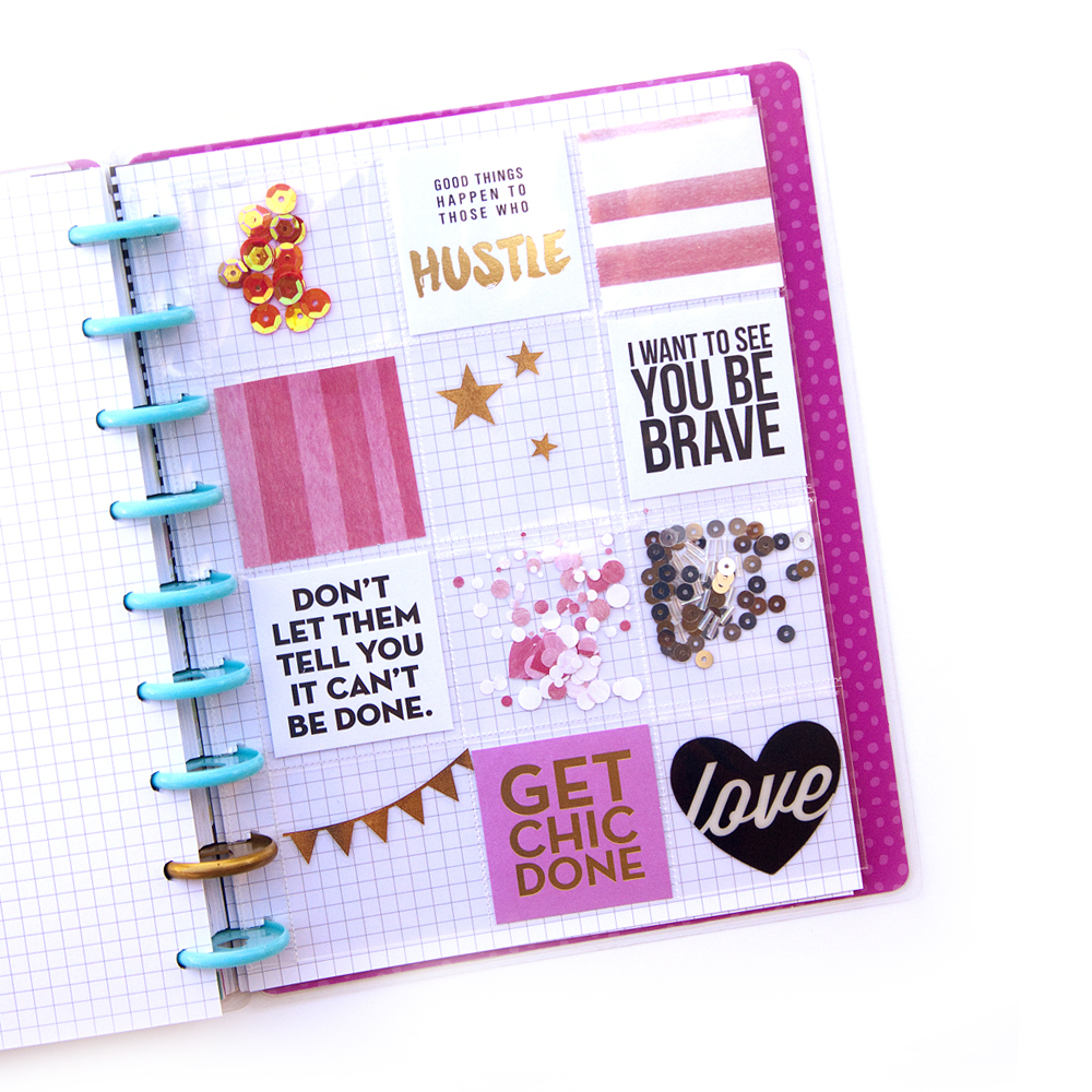 DIY Shaker Pocket Insert w/ Happy Planner™ Page Protectors by mambi Design Team member Jennie McGarvey | me & my BIG ideas