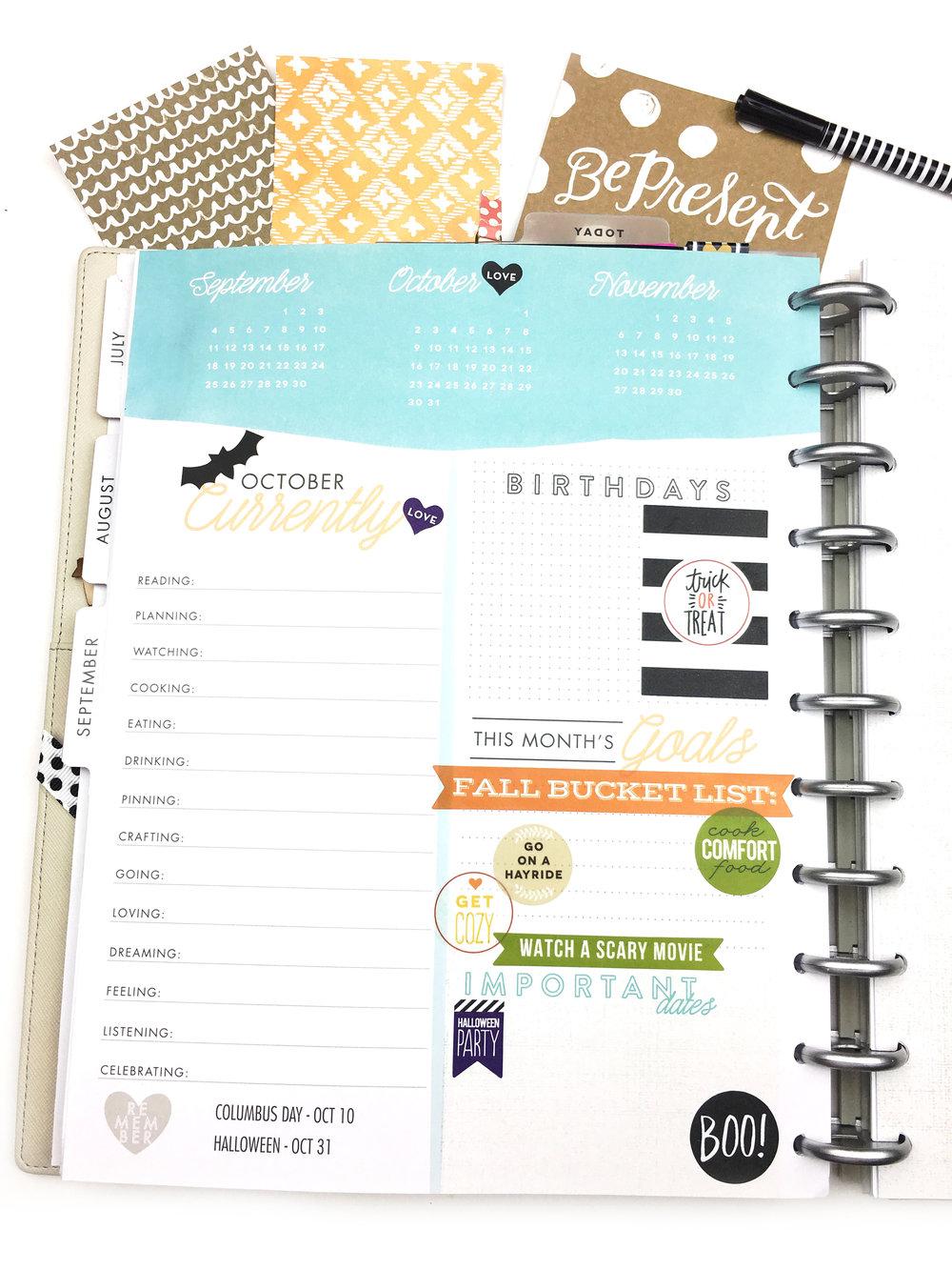 October prep #beforethepen in the 'Stay Golden' BIG Happy Planner™ ob mambi Design Team member Chantal Stevens | me & my BIG ideas