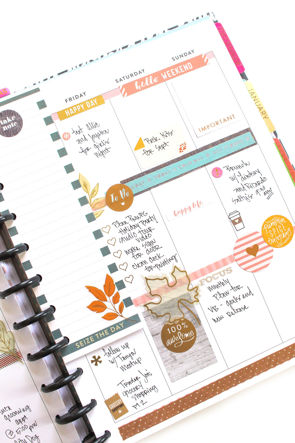 Fall-themed weekly layout before & after the pen by mambi Design Team member Tiffany Ross | me & my BIG ideas