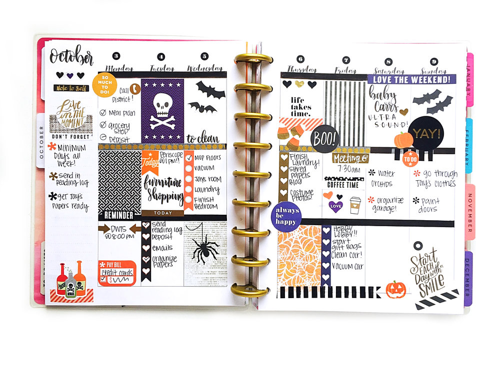 Halloween themed week using the 39 seasonal 39 sticker value for Happy planner ideas