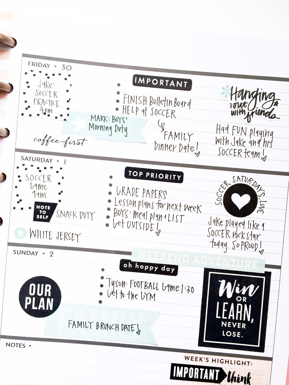 black & white & powder blue in the Rose Gold Horizontal Happy Planner™ of mambi Design Team member April Orr | me & my BIG ideas