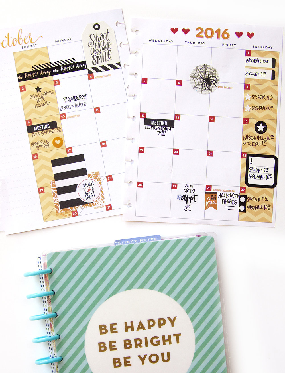 October monthly & weekly spread in the CLASSIC 'Be Bright' Happy Planner™ of mambi Design Team member Jennie McGarvey | me & my BIG ideas