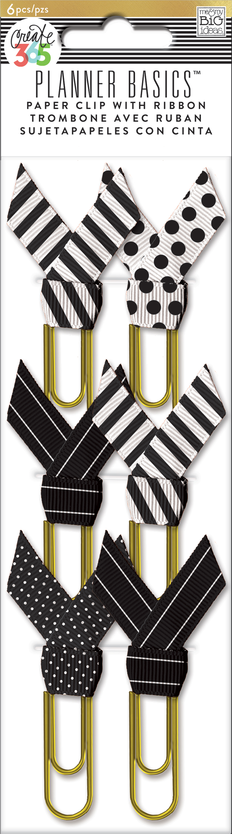 'Black & White' Paper Clips w: Ribbon Planner Basics™ for The Happy Planner™ | me & my BIG ideas.jpg