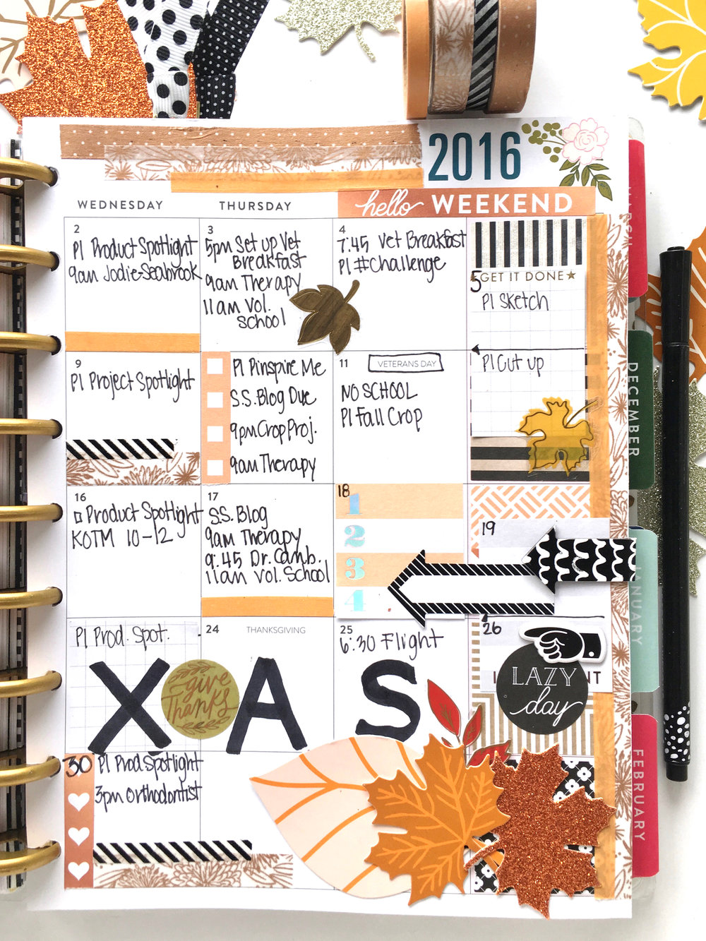 november monthly layout in the botanical garden happy planner