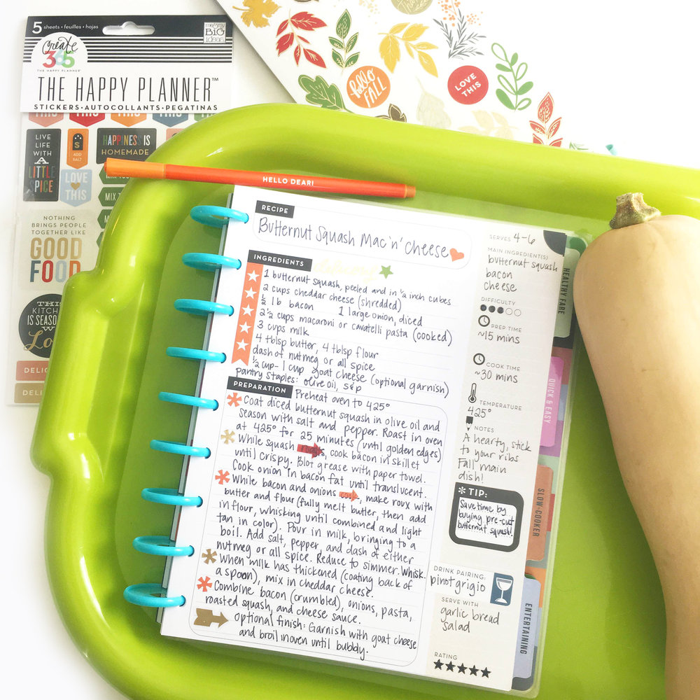 Butternut Squash Mac & Cheese in The Happy Planner™ Recipe Organizer of mambi Design Team member Gretchen Klobucar | me & my BIG ideas