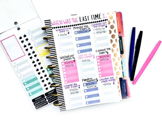 Diy cleaning chart in the happy planner me my big ideas for Time design planner