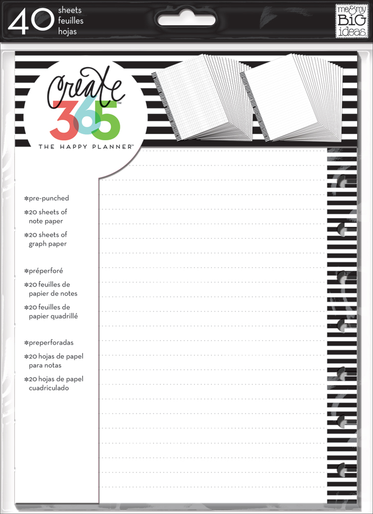 'Notes & Graph Paper - B&W stripes' for The Happy Planner™ | me & my BIG ideas.jpg