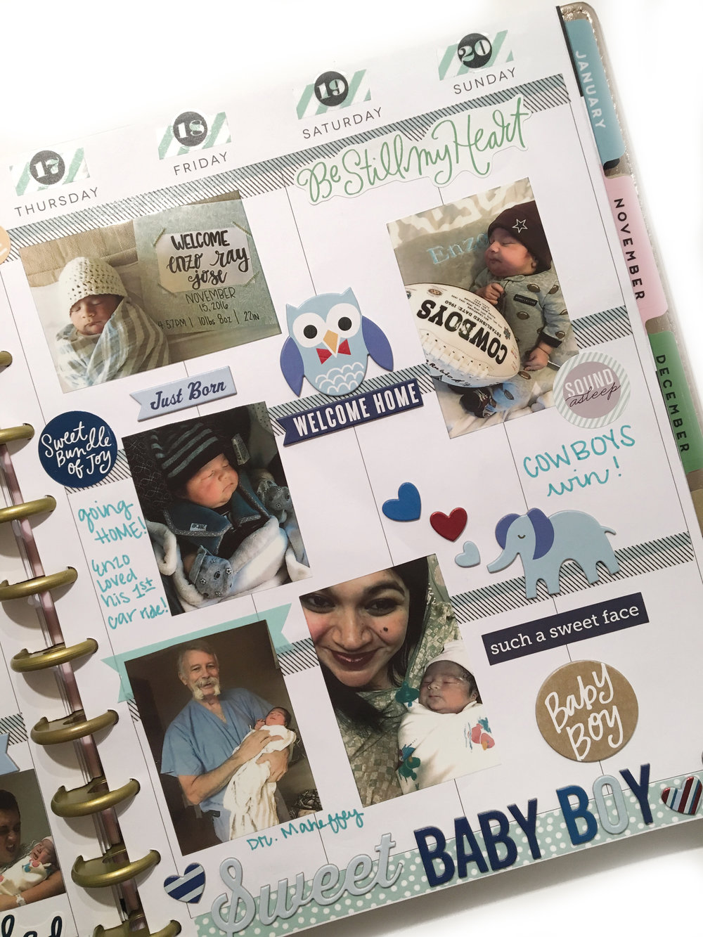 baby boy memory planning in the BIG Happy Planner™ by mambi Design Team member Erica Canant | me & my BIG ideas