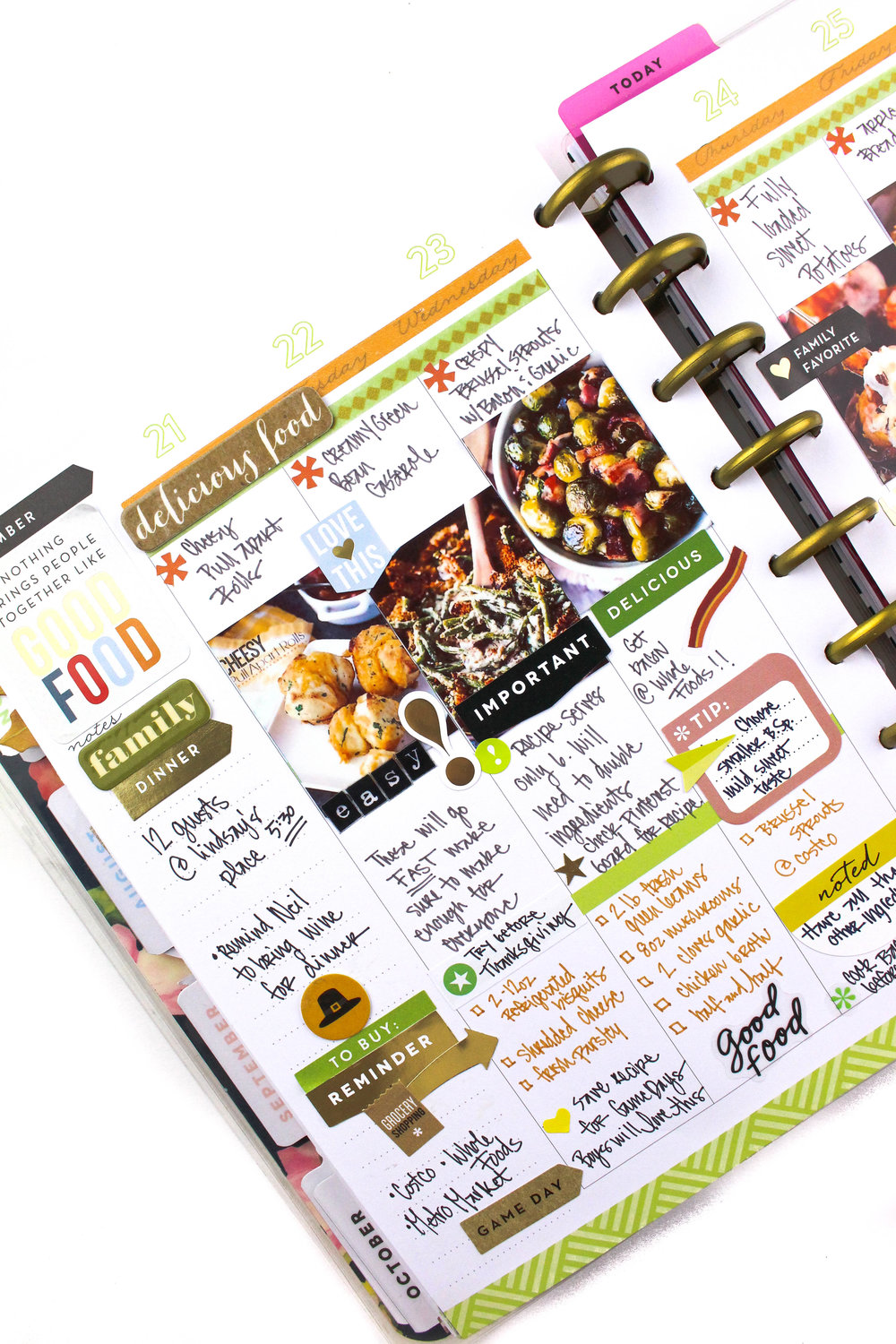 Thanksigving menu layout w/ matching weekly MINI spread by mambi Design Team member Tiffany Ross | me & my BIG ideas
