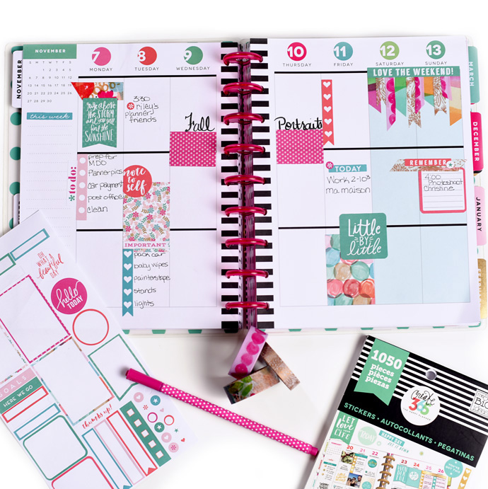 color-coordinated weekly layout in the CLASSIC 'Peony' Happy Planner™ of mambi Design Team member Mariel Reyes | me & my BIG ideas