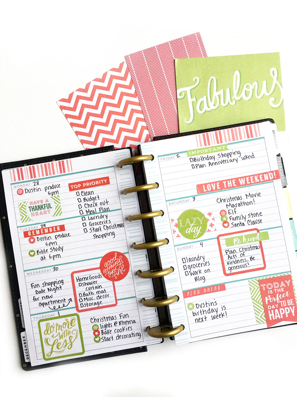 Two mini happy planners decked out for december me my for Planner design
