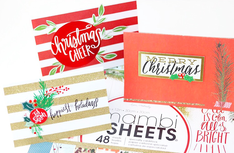 DIY Christmas cards using holiday-themed mambiSHEETS by mambi Design Team member Nita Patterson | me & my BIG ideas