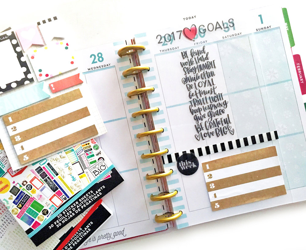 using a Happy Planner® clear dashboard as 2017 GOALS DIVIDER by mambi Design Team member Heather Kell | me & my BIG ideas