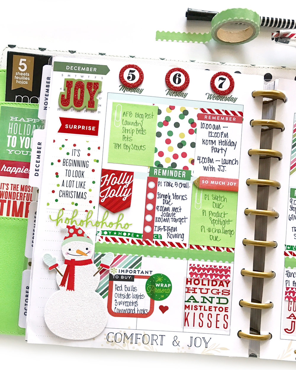 A red green deluxe cover christmas me my big for Happy planner ideas