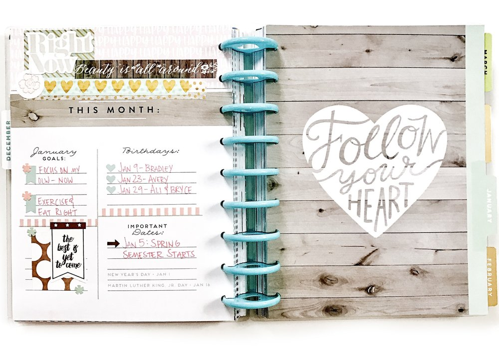 January monthly prep in the 'Picture Quote' Happy Planner® of mambi Design Team member Liz Nielson | me & my Big ideas