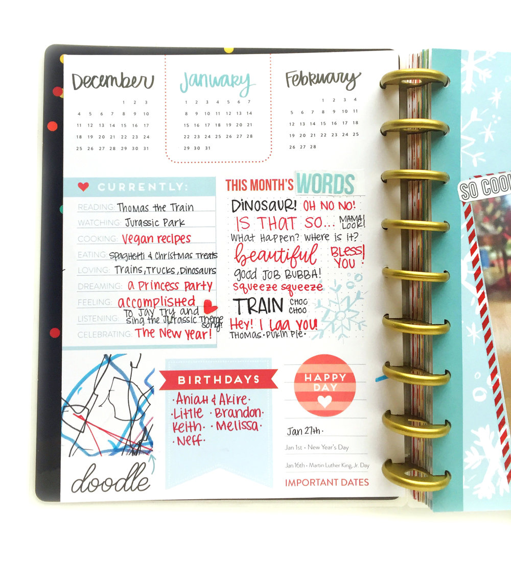 January monthly prep in the 'Seasonal' Happy Planner® of mambi Design Team member Marisa Yciano | me & my Big ideas