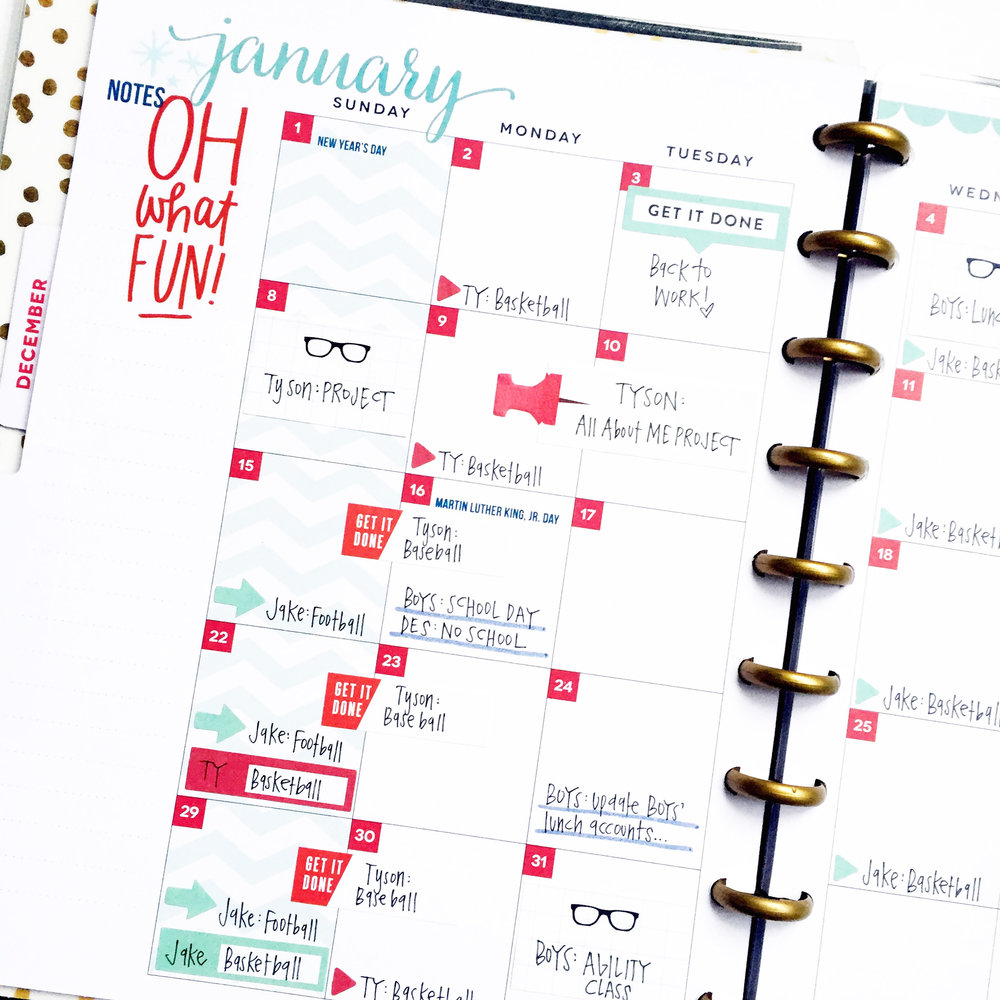January monthly pages in the CLASSIC 'Be Bright' Happy Planner® of mambi Design Team member April Orr | me & my BIG ideas