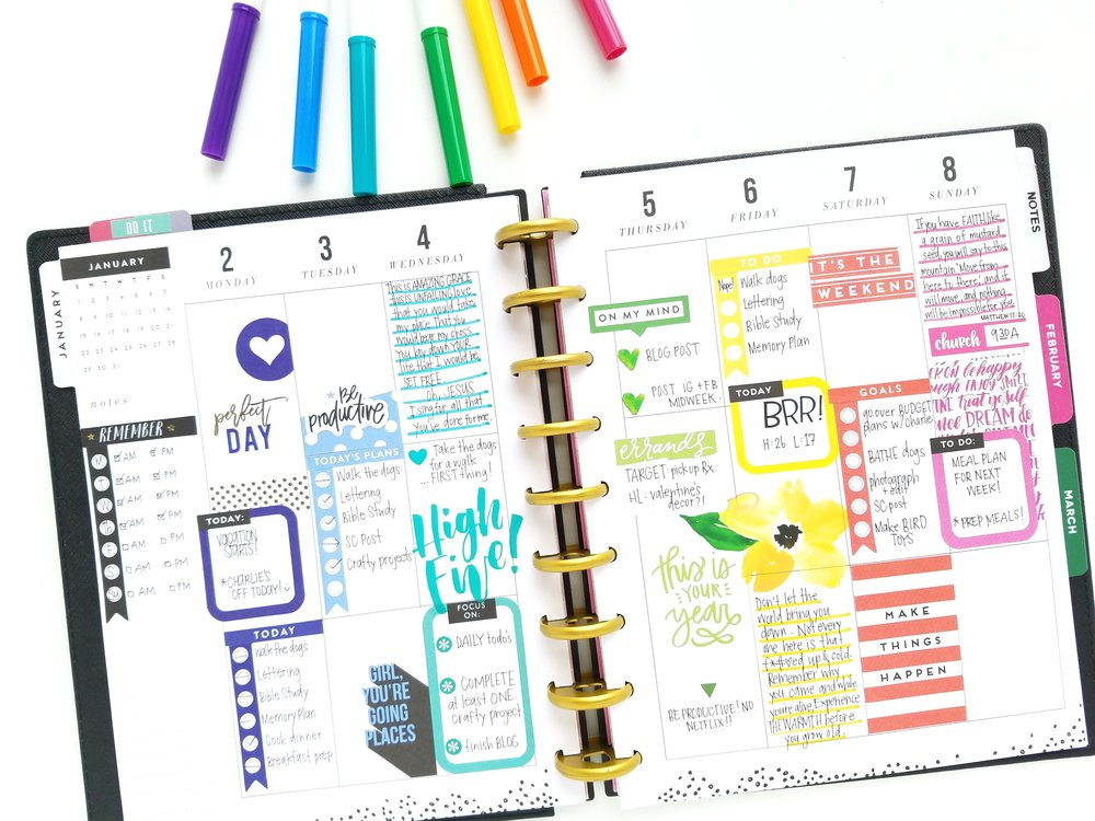 ROYGBIV January weekly pages in the CLASSIC 'This is Your Year' Happy Planner® of mambi Design Team member Michelle Weissert | me & my BIG ideas