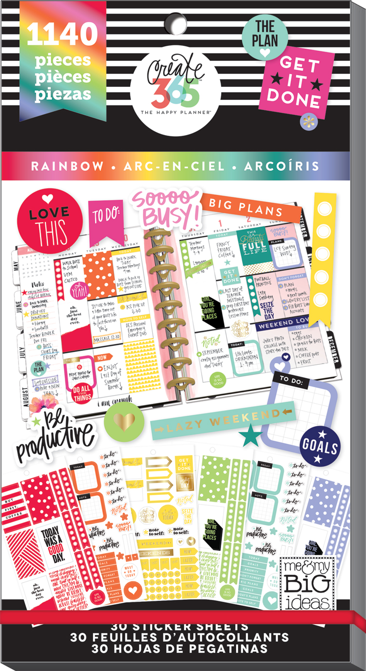 'Rainbow' sticker value pack for The Happy Planner® | me & my BIG ideashttp://shop.meandmybigideas.com/collections/the-happy-planner-stickers/products/value-pack-stickers-ppsv-11