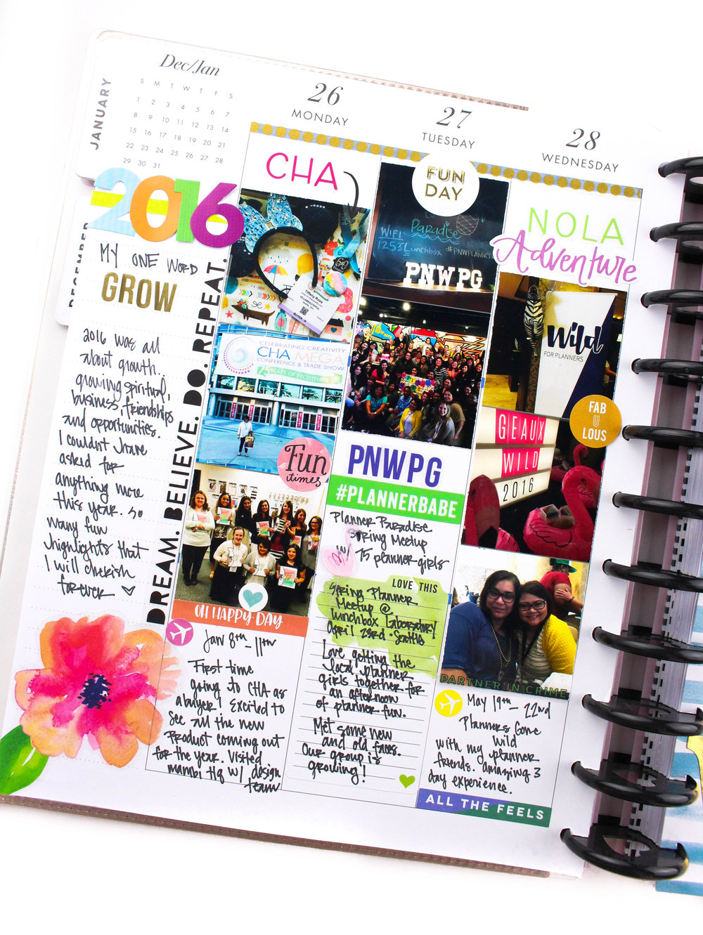 documenting one little word for 2016: GROW in The Happy Planner® by mambi Design Team member Tiffany Ross | me & my BIG ideas