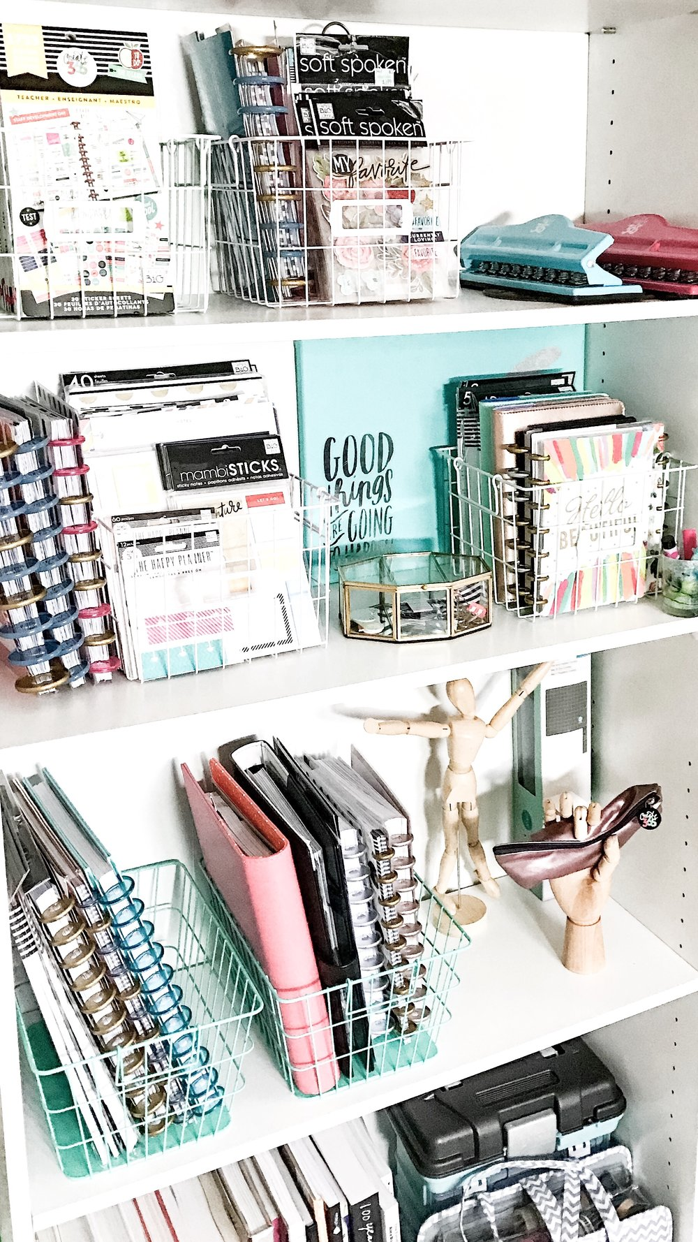 Using wire baskets to organize your happy planner for Planner decorating blogs