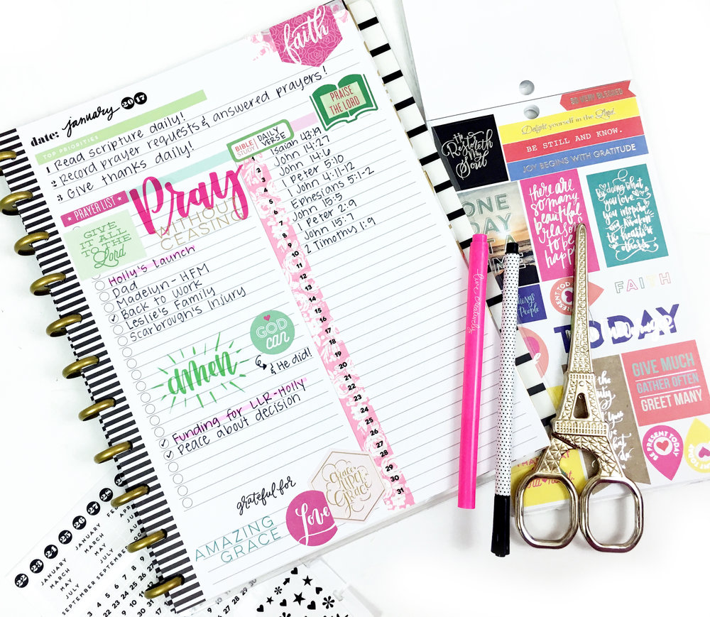 using The Happy Planner® Daily Sheet for monthly 'faith' intentions by mambi Design Team member Heather Kell | me & my BIG ideas