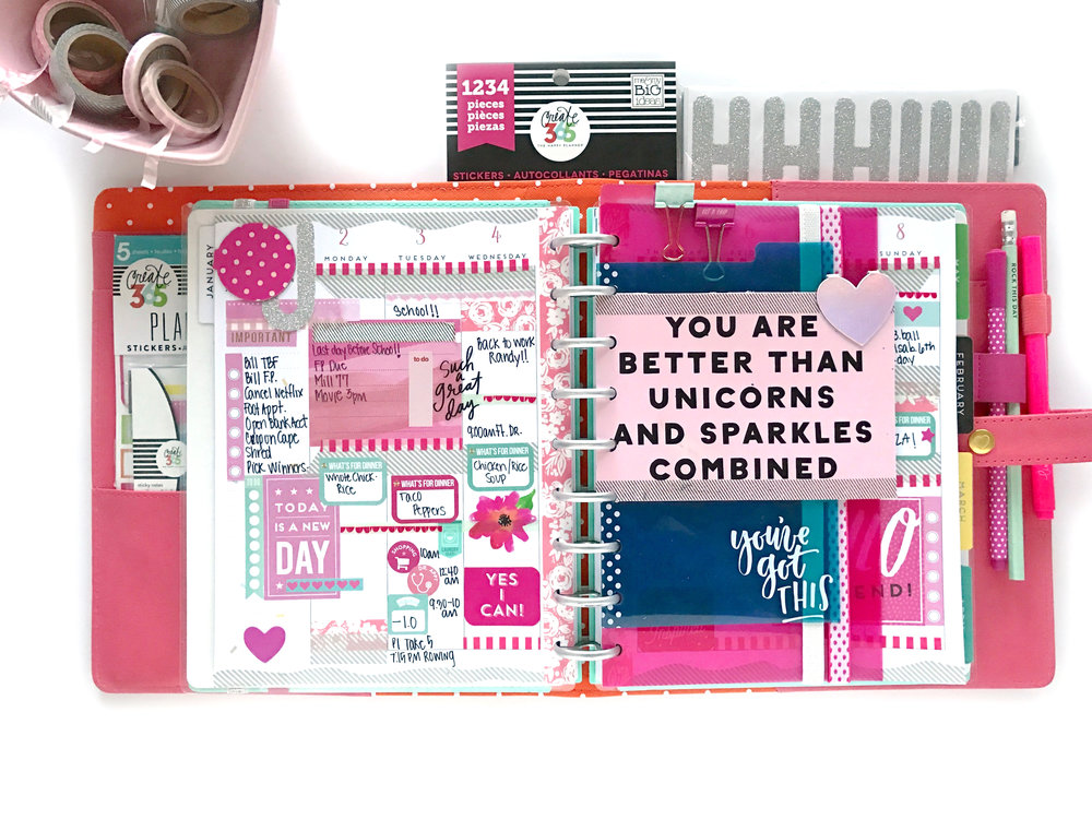 loaded January week in the CLASSIC 'Super Fun' Happy Planner® by mambi Design Team member Mary-Ann  Maldonado | me & my BIG ideas