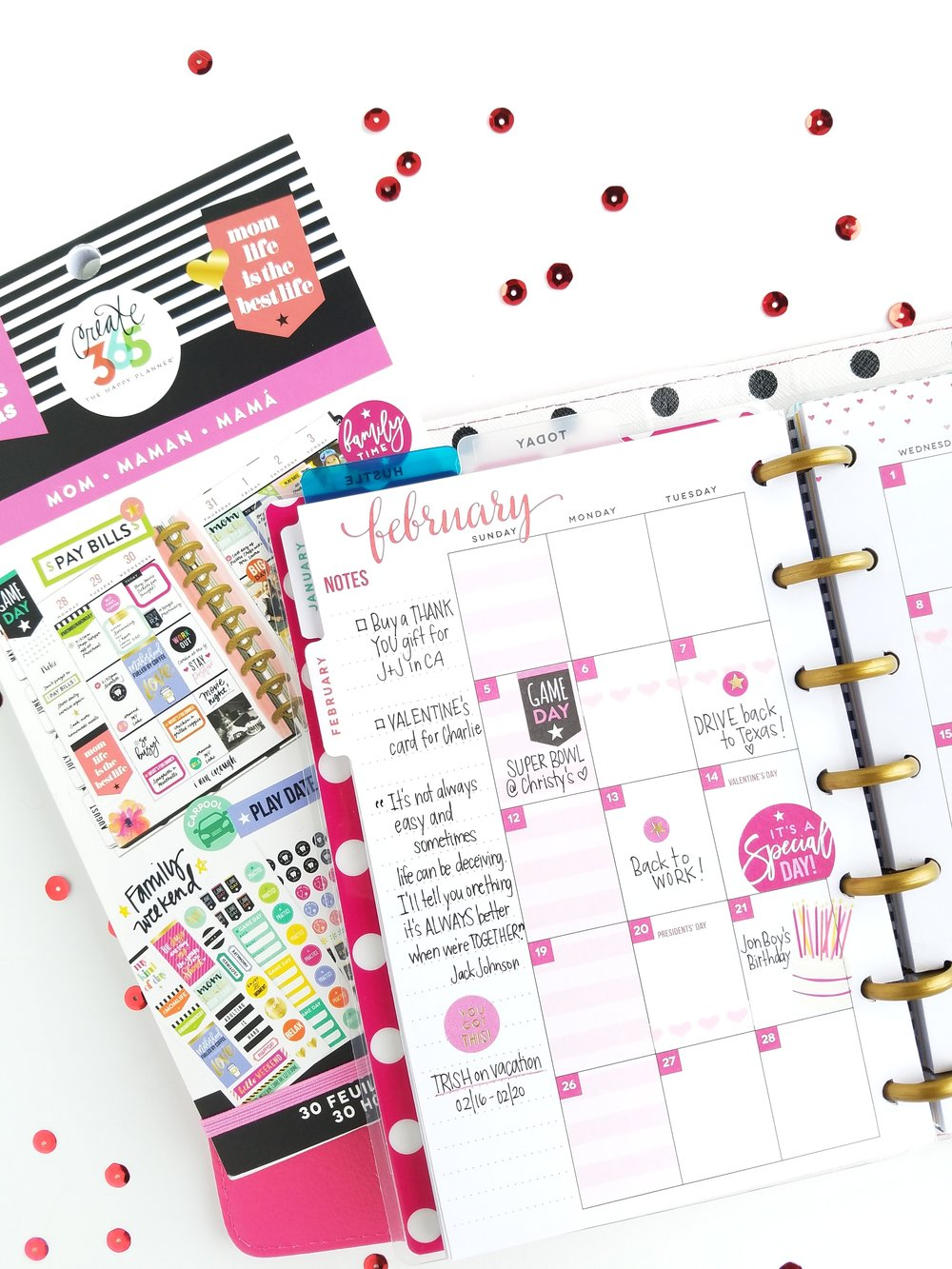 Festive February in the MINI 'Be Bright' Happy Planner® using the 'MOM' Sticker Value Pack by mambi Design Team member Michelle Weissert | me & my BIG ideas