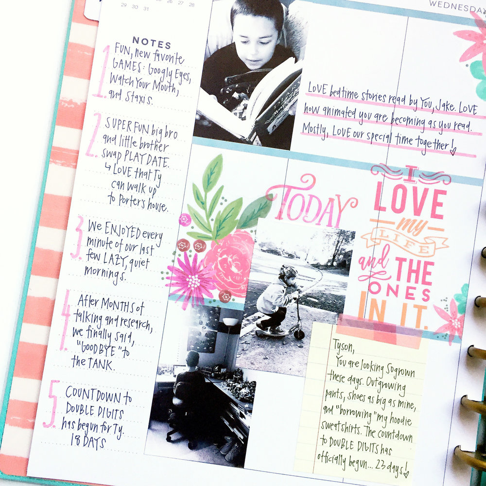 three weeks worth of memory planned pages in the BIG 'Tranquility' Happy Planner® by mambi Design Team member April Orr | me & my Big ideas