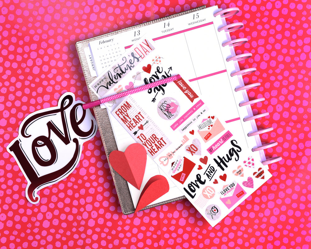 hidden journalling for Valentine's Day in The Happy Planner® by mambi Design Team member Mariel Reyes | me & my BIG ideas
