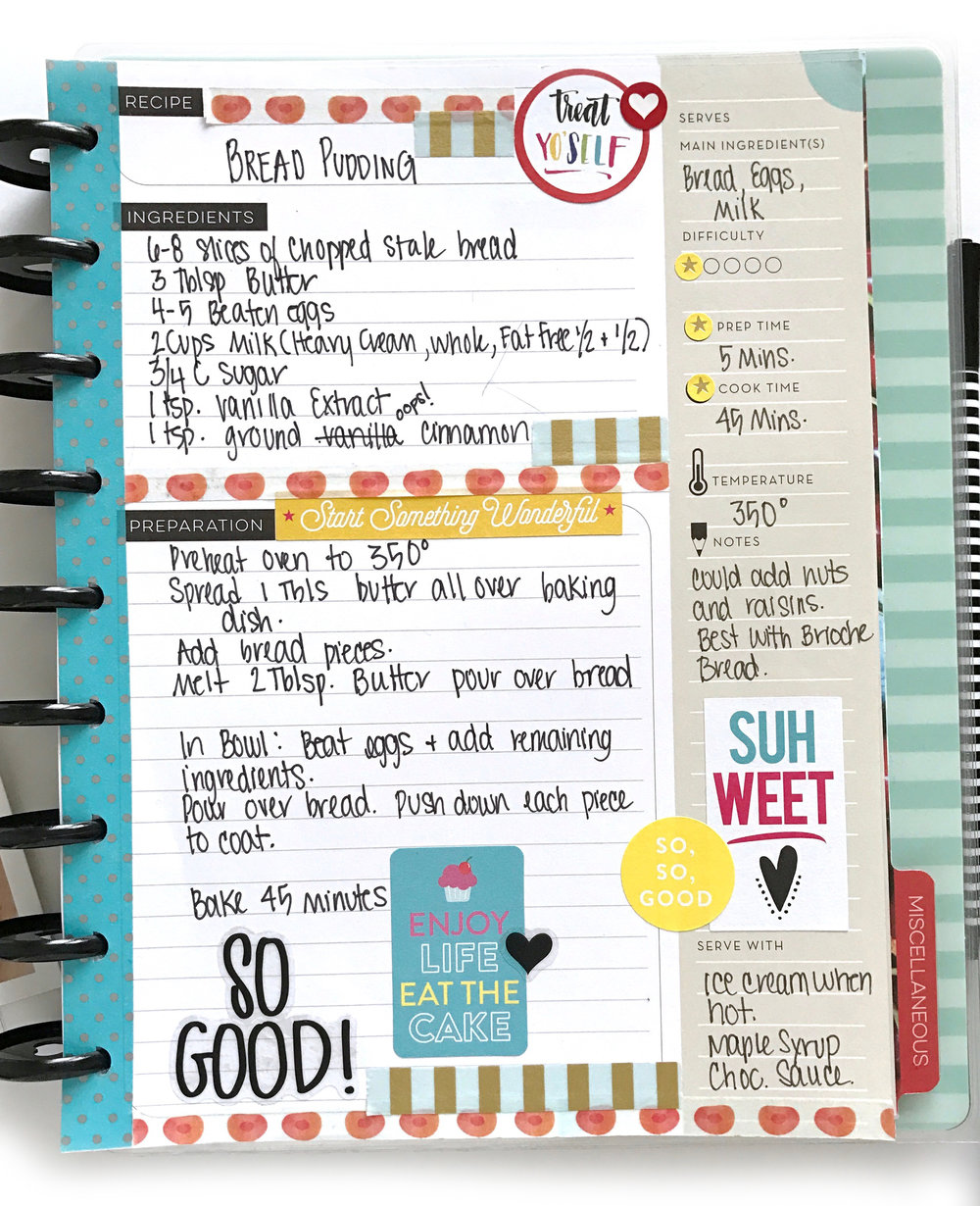 Bread Pudding in The Happy Planner® Recipe Organizer by mambi Design Team member Mary-Ann Maldonado | me & my BIG ideas