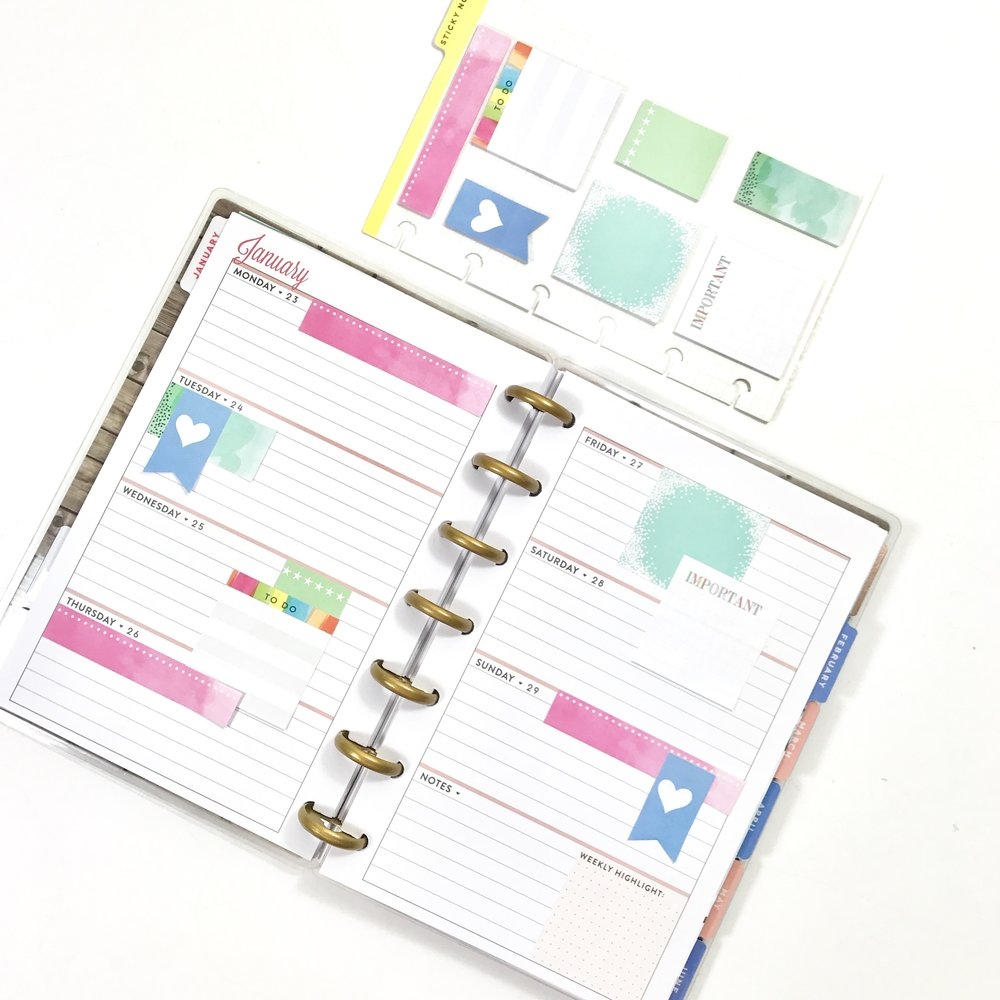 MINI sticky notes + the MINI 'Fresh Floral' Happy Planner® by mambi Design Team member Liz Nielson | me & my BIG ideas