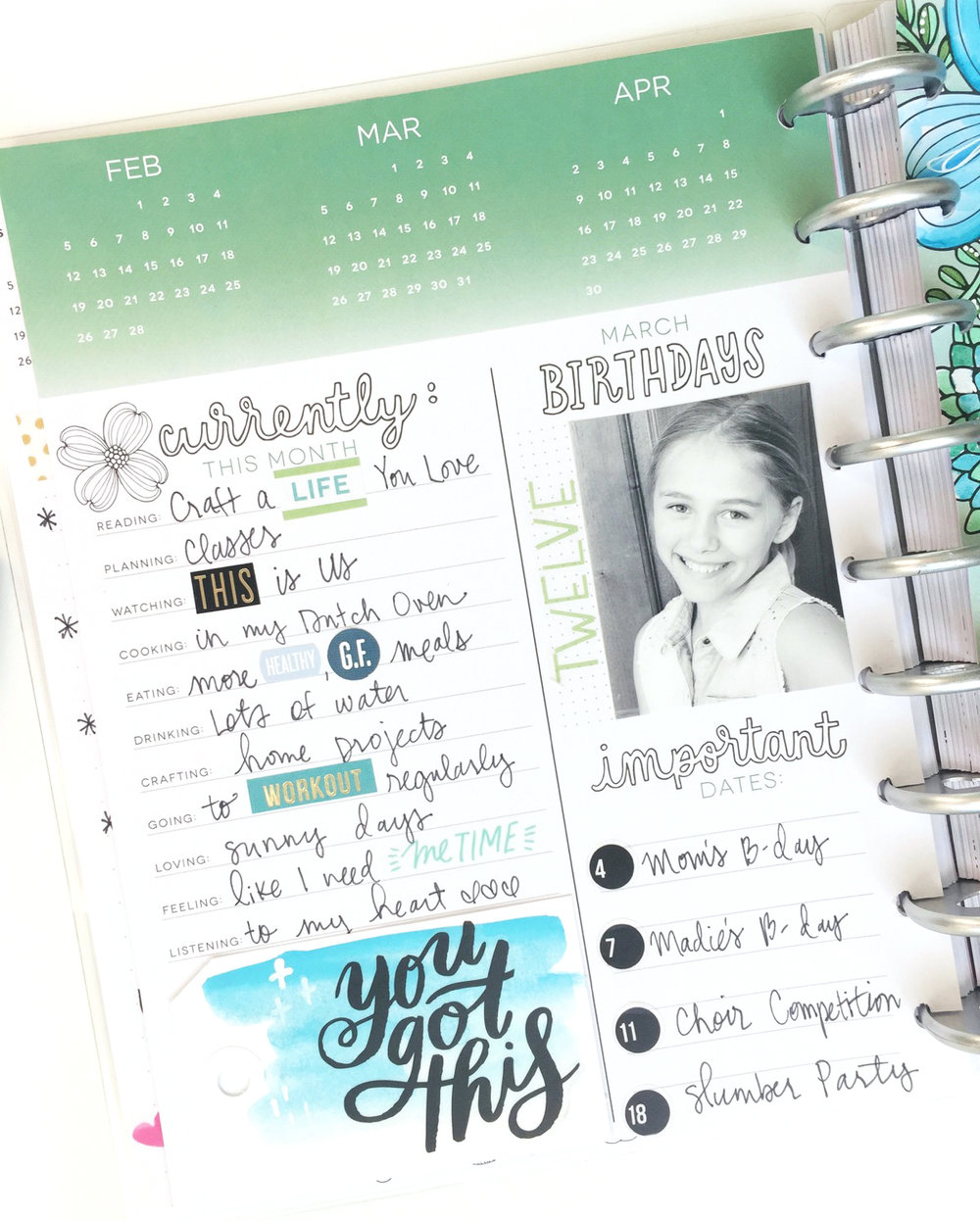 coloring the March 2017 dashboard in the CLASSIC 'Color Your World' Happy Planner® of mambi Design Team member Jen Randall | me & my BIG ideas