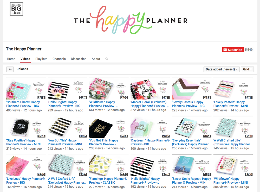 The Happy Planner® YouTube | me & my BIG ideas