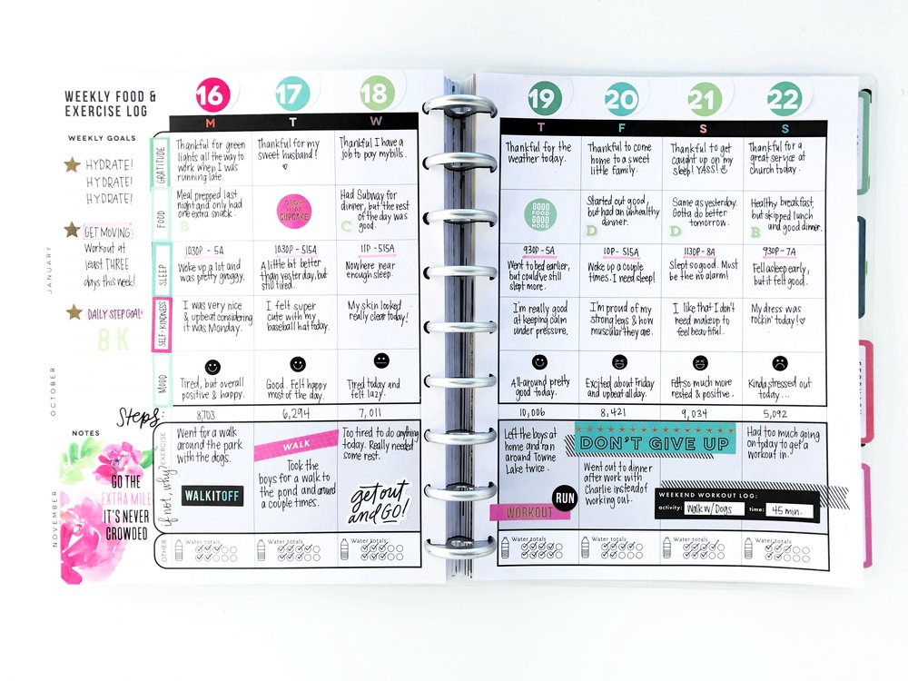 using the CLASSIC Fitness Happy Planner® as an 'Overall Health' planner by mambi Design Team member Michelle Weissert | me & my BIG ideas