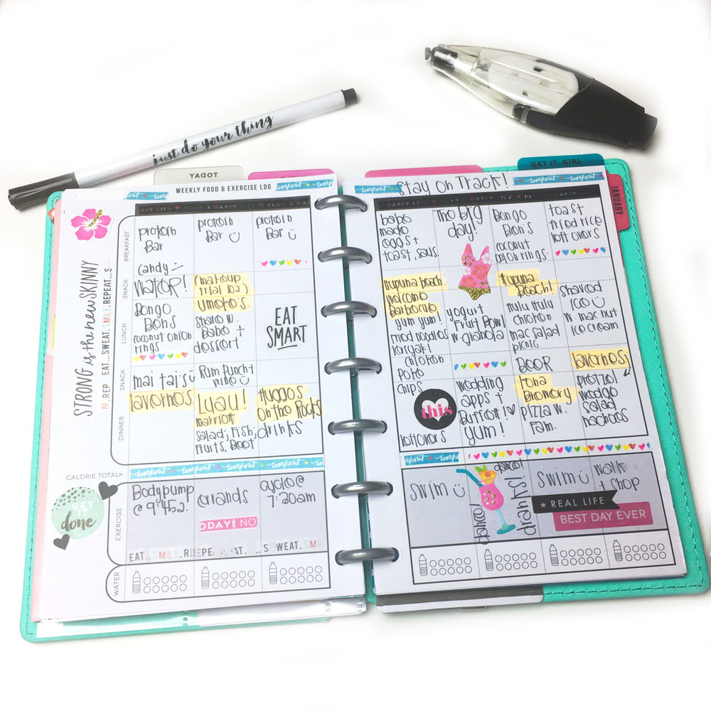 reflecting on past months' messy, well-loved MINI Fitness Planner pages by mambi Design Team member Chantal Kuaea | me & my BIG ideas