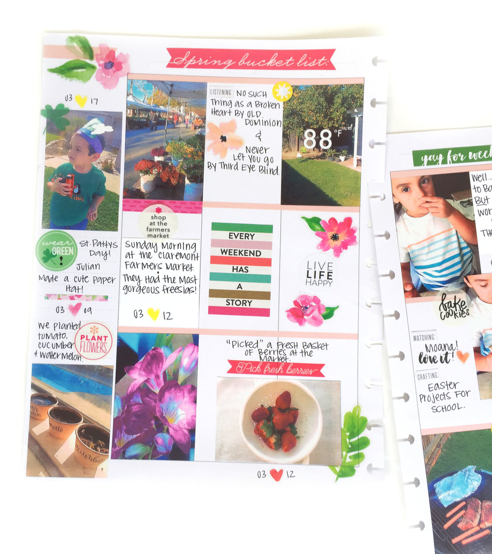 Spring Bucket List + photos on a memory planning spread in the BIG Happy Planner® of mambi Design Team member Marisa Yciano | me & my BIG ideas