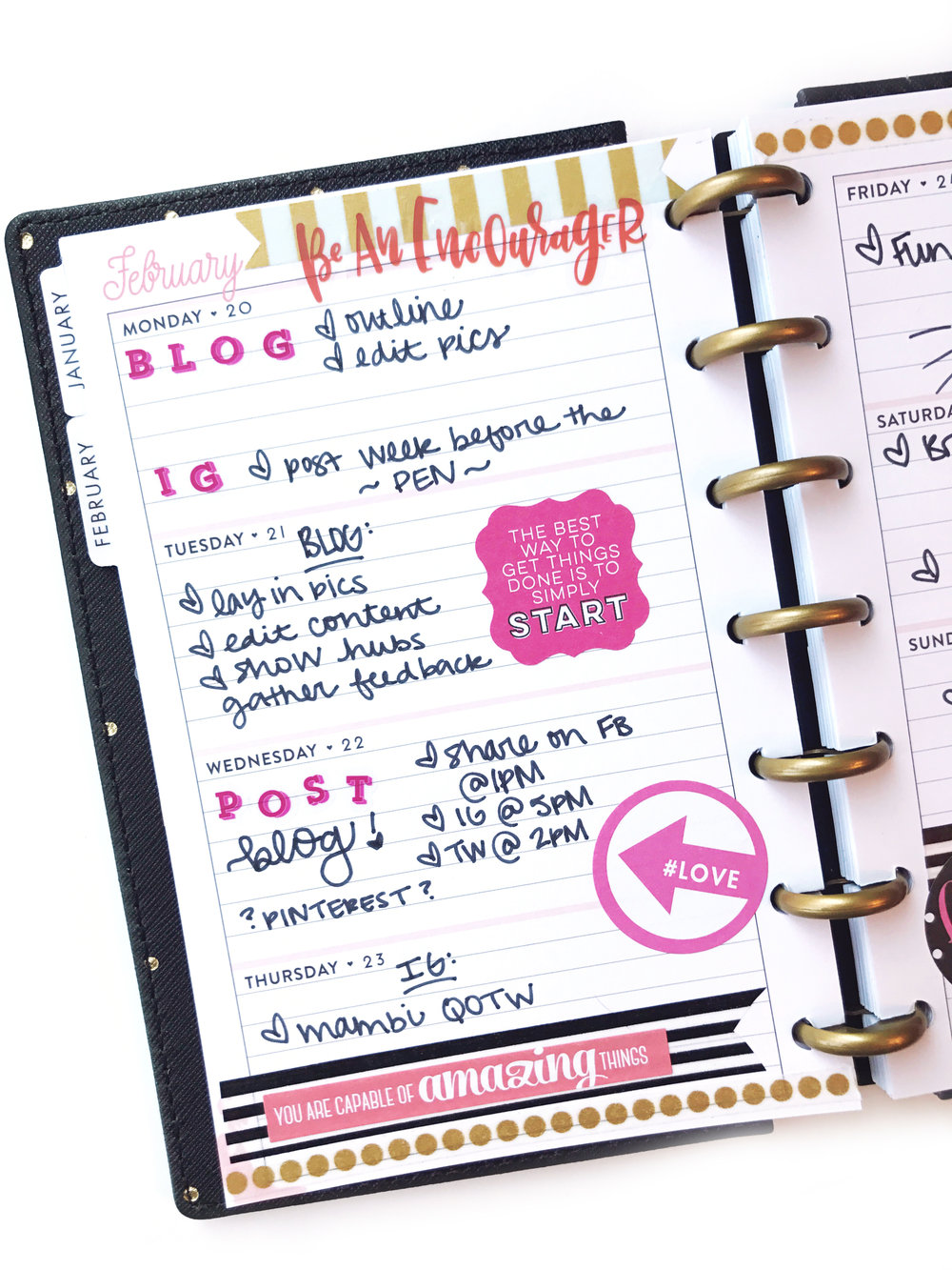 using a MINI Happy Planner® as a social media planner by mambi Design Team member Erica Canant | me & my BIG ideas