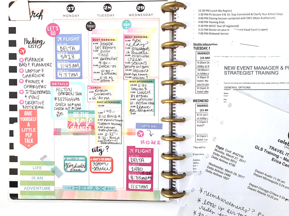 travel planning in the CLASSIC & BIG Happy Planners® by mambi Design Team member Erica Canant | me & my BIG ideas