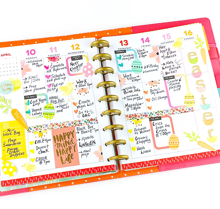 Easter week 'before & after the pen' in the CLASSIC 'Be Bright' Happy Planner® of mambi Design Team member Nita Patterson | me & my BIG ideas