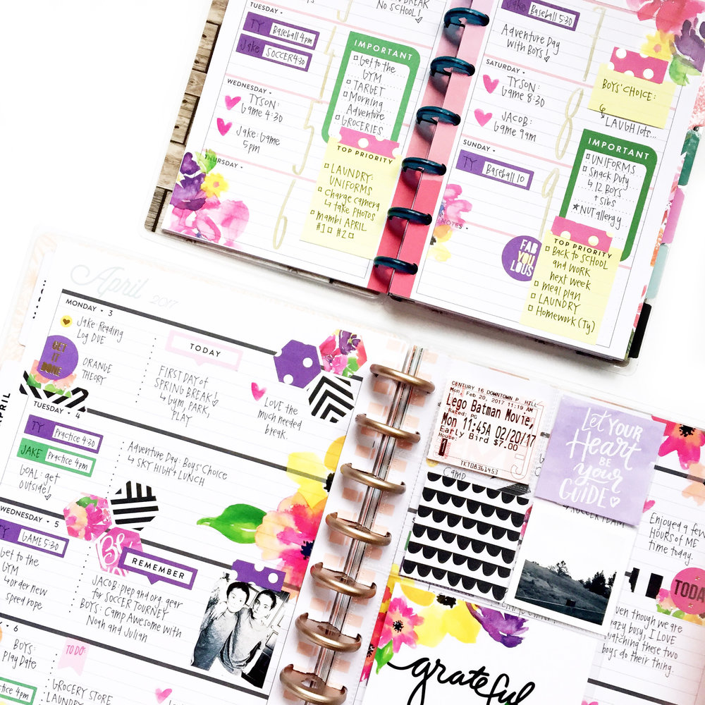 Horizontal Happy Planning® w/ floral stickers & a MINI to ...