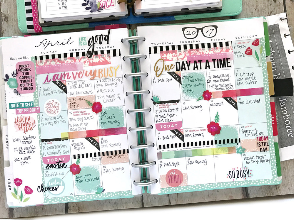 Happy Planner® MINI weekly & CLASSIC monthly pages of April by mambi Design Team member Mary-Ann Maldonado | me & my BIG ideas