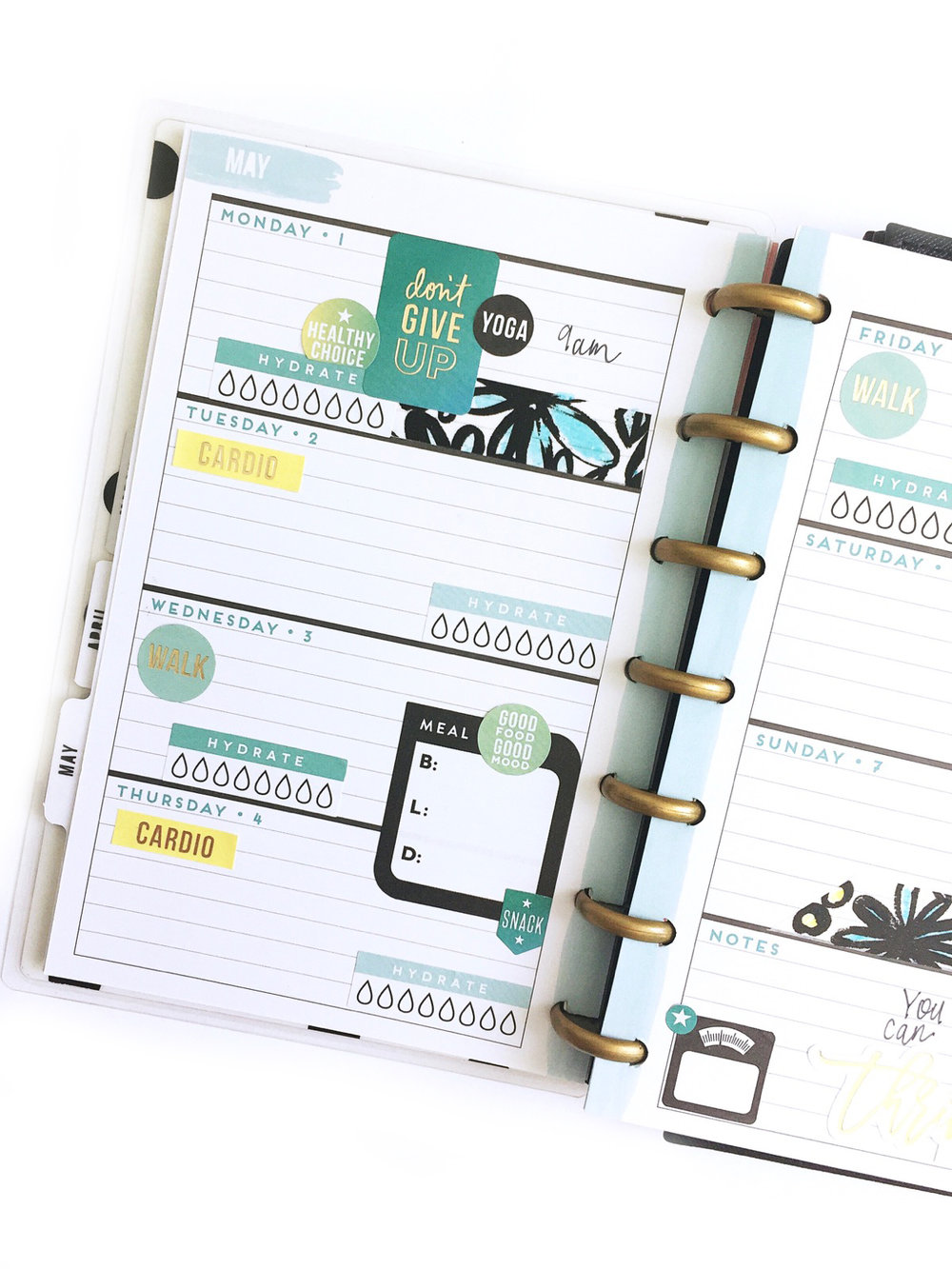 using a HORIZONTAL MINI Happy Planner® as a fitness planner by mambi Design Team member Jen Randall | me & my BIG ideas